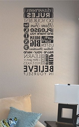 Most Current Amazon: Classroom Rules Do Your Best Have Fun Say Please For Classroom Vinyl Wall Art (View 1 of 15)
