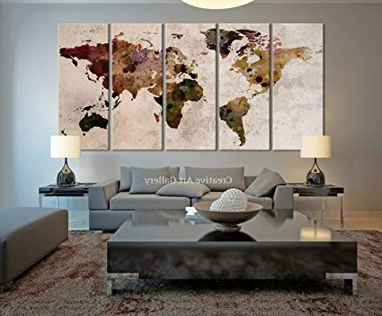 Most Current Amazon: Funy Decor Large Canvas Print Rustic World Map, Large Pertaining To Large Retro Wall Art (View 10 of 15)