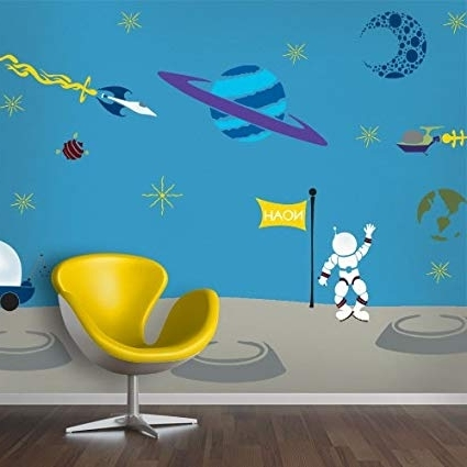 Most Current Amazon: Mywonderfulwalls Outer Space Theme Wall Mural Stencil Regarding Space Stencils For Walls (View 3 of 15)