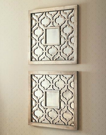 Most Current Amazon: Silver Square Fretwork Wood Mirror Wall Art Pair: Home Pertaining To Fretwork Wall Art (View 2 of 15)