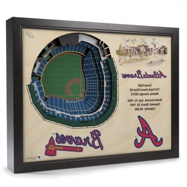 Most Current Atlanta Braves 25 Layer 25 X 19 Stadiumviews 3D Wall Art Official With Baseball 3D Wall Art (View 4 of 15)