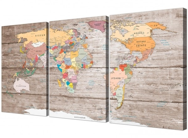 Most Current Atlas Wall Art Throughout Large Decorative Map Of World Atlas Canvas Wall Art Print  Multi  (View 13 of 15)
