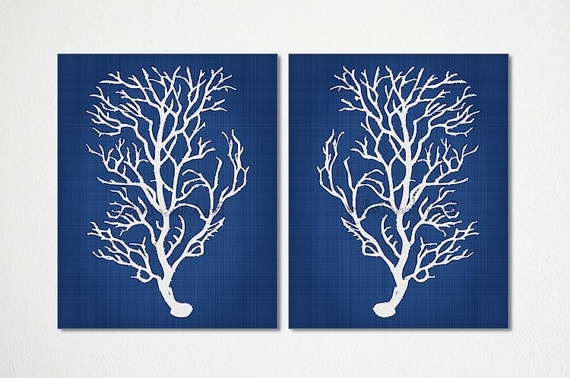 Most Current Blue And White Wall Art With Regard To Blue Coral Wall Art Navy Blue Coral Print Navy White Wall, Navy Blue (View 15 of 15)