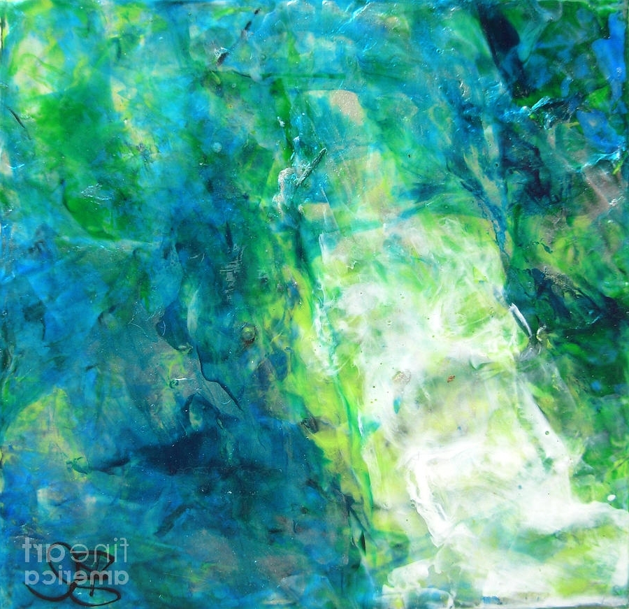 Most Current Blue Green Abstract Wall Art With Regard To Turquoise Modern Abstract Wall Art Contemporary Style Square (View 2 of 15)