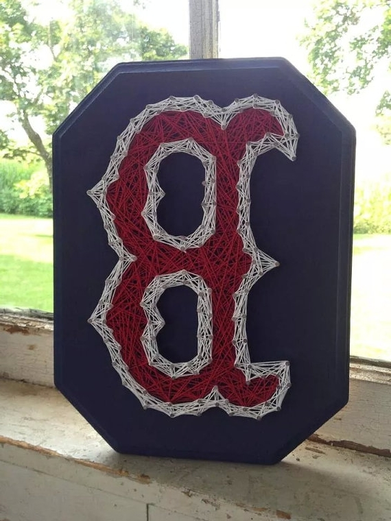 "Most Current Boston Red Sox ""b"" String Art, Red Sox Wall Hanging, Boston Strong Intended For Boston Red Sox Wall Art (View 8 of 15)"