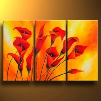 Most Current Callas In Orange -Modern Canvas Art Wall Decor -Floral Oil Painting pertaining to Oil Painting Wall Art On Canvas