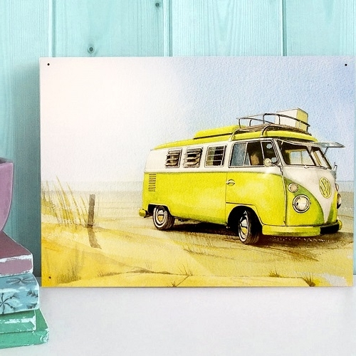 Most Current Campervan Metal Wall Art For Official Vw Camper Vintage Quad Metal Wall Art Plaque / Sign 41Cm X (View 15 of 15)