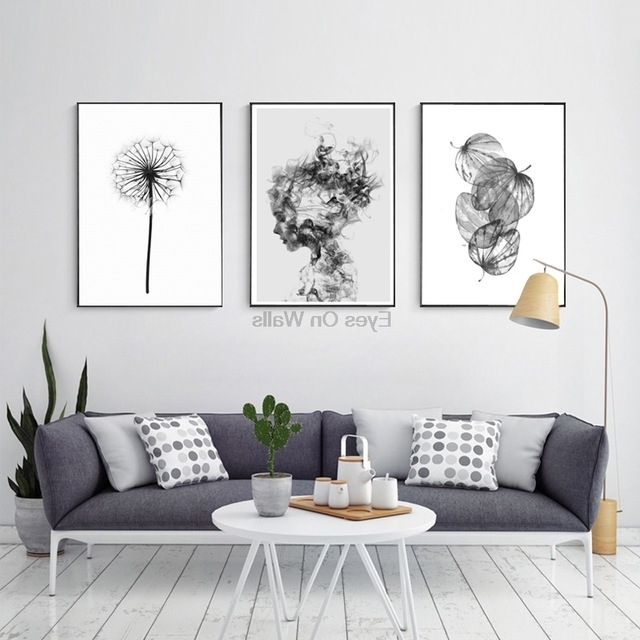 Most Current Cheap Black And White Wall Art Pertaining To Nordic Abstract Poster And Prints Black White Wall Art Canvas (View 8 of 15)
