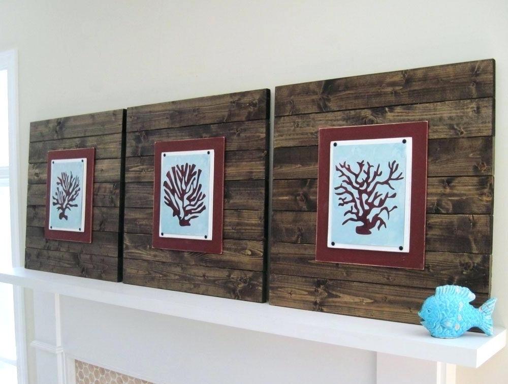 Most Current Dark Wood Wall Art Regarding Planked Wood Wall Art Dark Wood Plank Frame With C Planks Beach Wood (View 8 of 15)