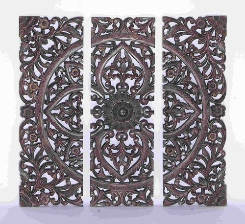 Most Current Dark Wood Wall Art With Regard To 36X36 Dark Carved Wood Wall Art Panel Moroccan African Jungle Style (View 10 of 15)