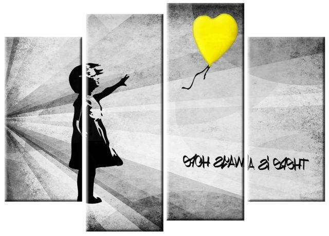 Most Current Extra Large Banksy Girl & Yellow Balloon Canvas Picture Yellow Grey Inside Large Yellow Wall Art (View 11 of 15)