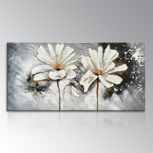 Most Current Framed Hand Painted White And Red Flower Oil Painting On Canvas In Abstract Flower Wall Art (View 10 of 15)