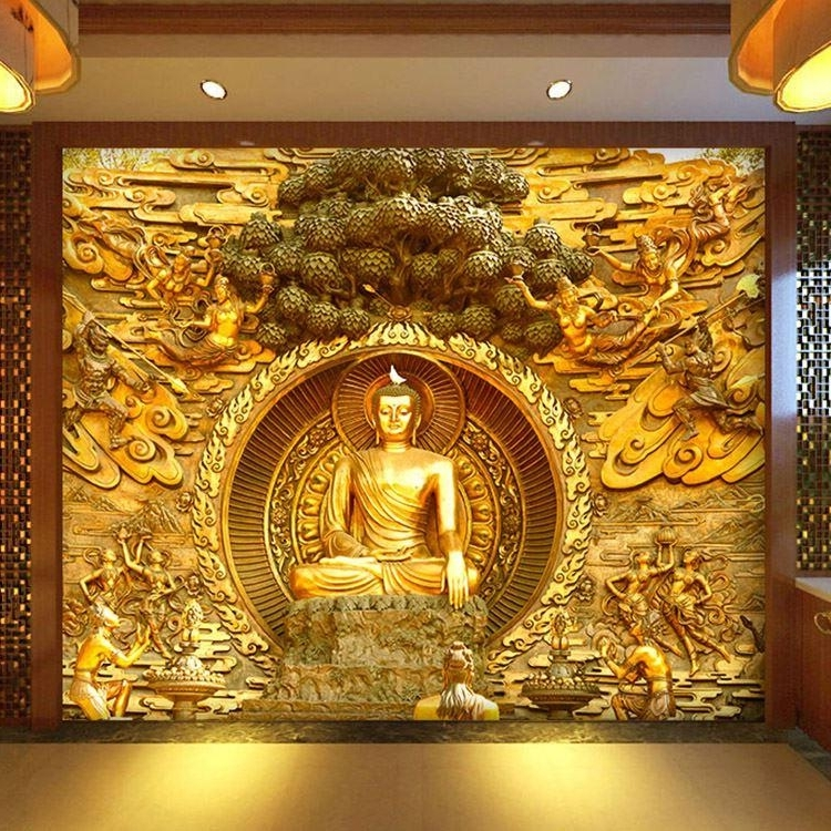 Most Current Golden Buddha Buddhist Temple Mural Custom Large Living Room Screen Inside 3D Buddha Wall Art (View 8 of 15)
