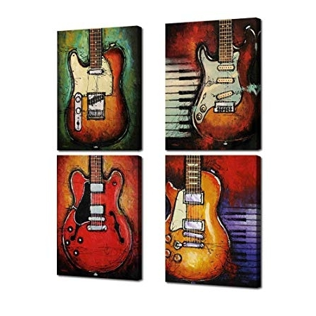 Most Current Guitar Canvas Wall Art Throughout Music Wall Art Abstract Guitar Canvas Prints Art Home Decor For (View 9 of 15)