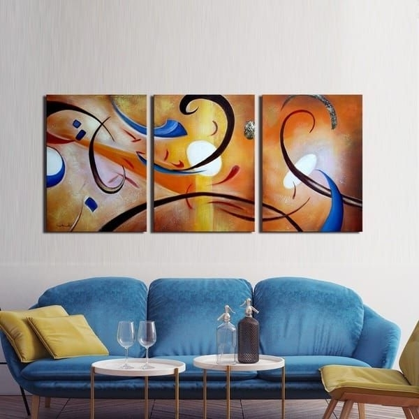 Most Current Happiness Abstract Wall Art Intended For Happiness Abstract' Hand Painted Gallery Wrapped Canvas Art Set (View 5 of 15)