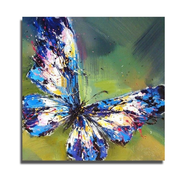 Most Current Hot Handpainted Oil Painting On Canvas Art Painting Modern Blue With Regard To Butterfly Canvas Wall Art (View 12 of 15)