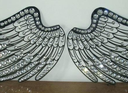Most Current Jeweled Metal Wall Art Throughout Large Angel Wings Jeweled Metal Wall Art Large Angel Wings Jeweled (View 5 of 15)