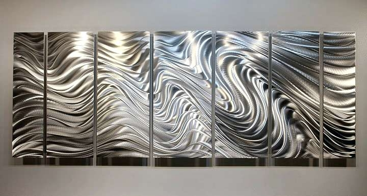 Most Current Large Abstract Metal Wall Art Within Abstract Metal Wall Sculpture Hypnotic Sands Brilliant Silver Modern (View 11 of 15)