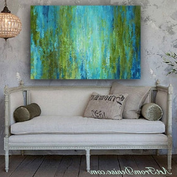 Most Current Large Wall Art, Abstract Canvas Print, Turquoise Olive Green Blue Or Inside Green Abstract Wall Art (View 10 of 15)