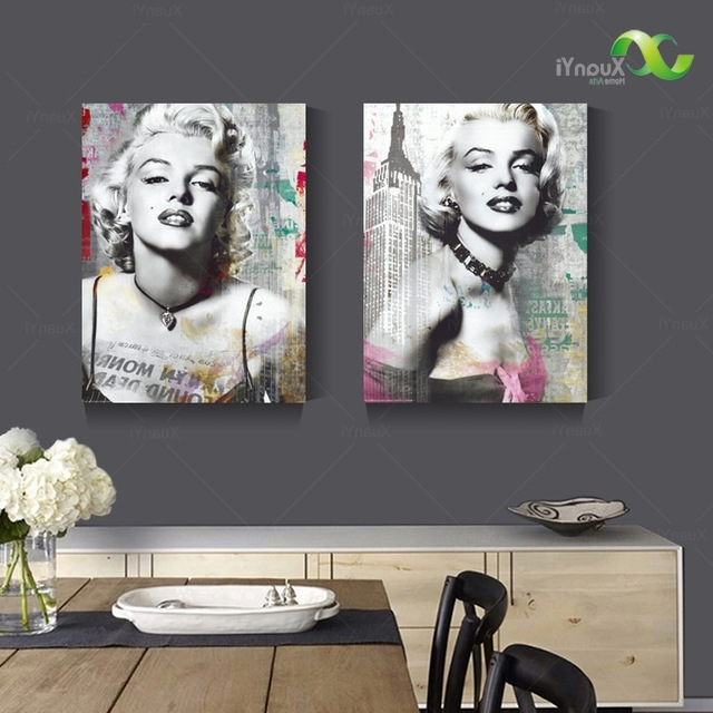 Most Current Marilyn Monroe Black And White Wall Art Regarding 2 Panel Canvas Print Sexy Marilyn Monroe Black And White Oil (View 2 of 15)