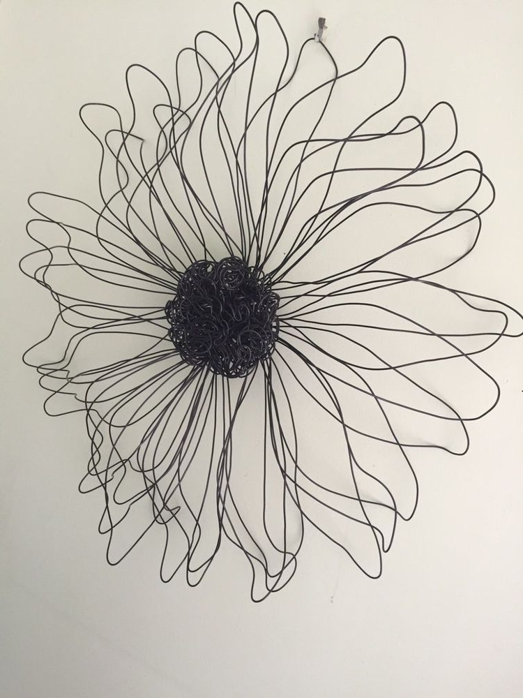 Most Current Metal Wire Flower Wall Sculpture Wall Art Decor Daisy Girls Teen Pertaining To Wire Wall Art Decors (View 4 of 15)