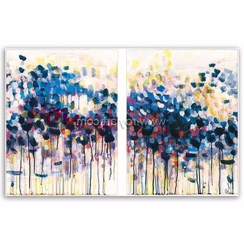 Most Current Modern Abstract Oil Painting Wall Art Throughout 2 Panels Canvas Wall Art Simple Modern Abstract Oil Painting For (View 13 of 15)