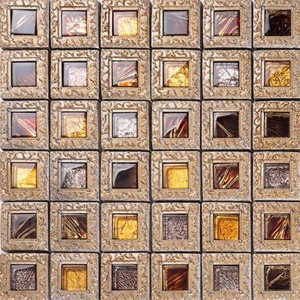 Most Current Modern Brown Ceramic Tile Wall Art Stone Kitchen Mosaic Subway Throughout Ceramic Tile Wall Art (View 9 of 15)