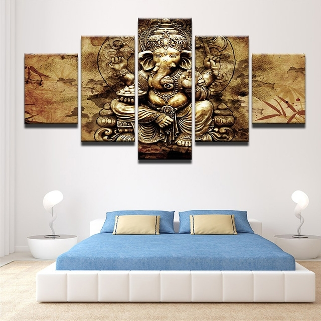 Most Current Modern Hd Printed Canvas Posters Home Decor 5 Pieces India Ganesha Throughout Brown Framed Wall Art (View 15 of 15)