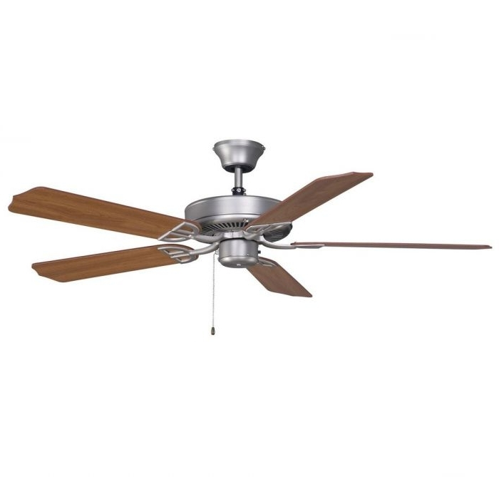 """Most Current Nickel Outdoor Ceiling Fans Within Fanimation 52"""" Aire Decor Outdoor Ceiling Fan In Satin Nickel W (View 9 of 15)"""