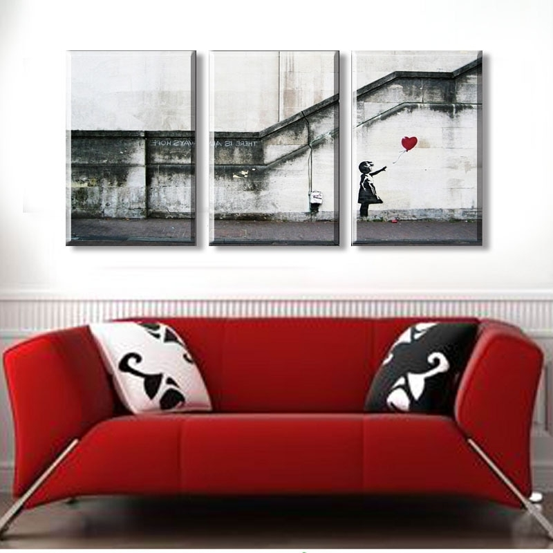 Most Current No Frame) Banksy Wall Art Canvas Prints 3 Pieces Wall Pictures For Intended For Banksy Wall Art Canvas (View 12 of 15)