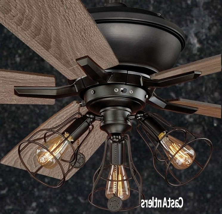 """Most Current Outdoor Ceiling Fans With Led Globe Within 52"""" Edison Rustic Ceiling Fan W/ Industrial Cage Light (View 15 of 15)"""