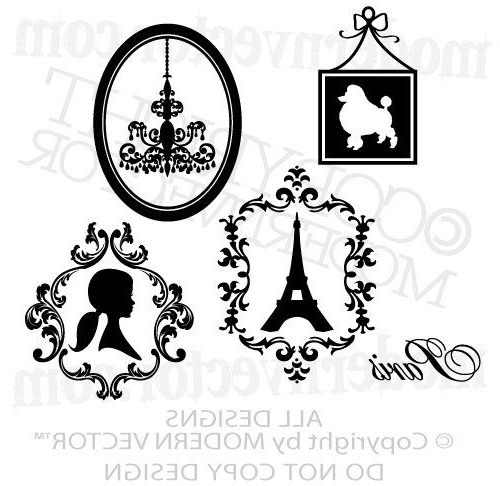 Most Current Paris Theme Vinyl Wall Decals Eiffel Tower, Poodle, Silhouette For Paris Vinyl Wall Art (View 4 of 15)