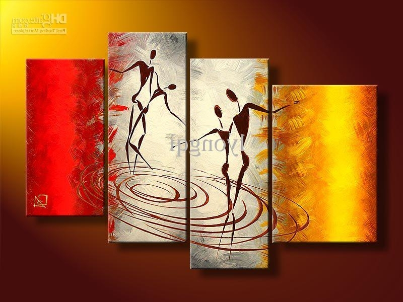 Most Current Red And Yellow Wall Art In 2018 Hand Painted Hi Q Modern Vogue Wall Art Home Decorative Happy (View 3 of 15)