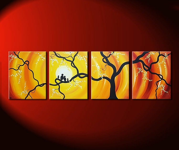 Most Current Red And Yellow Wall Art Throughout Huge Bird Family Painting Bright Yellow Orange Happy Wall Art Love (View 4 of 15)