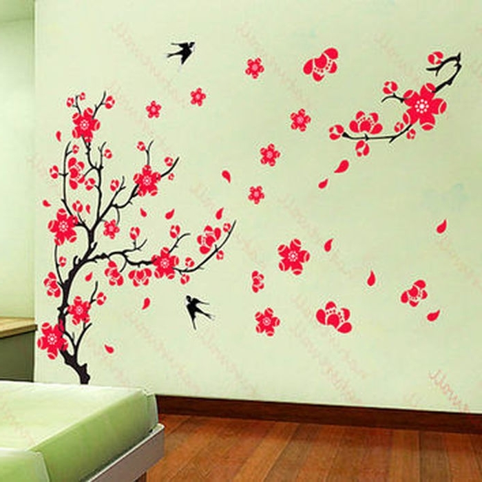 Most Current Red Cherry Blossom Wall Art With  (View 11 of 15)