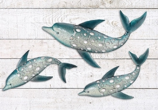 Most Current Seaside Metal Wall Art Inside Dolphin Fish Wall Art Metal Coastal Nautical Beach Indoor Outdoor (View 4 of 15)