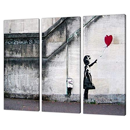 Most Current Set Of 3 Large Banksy Canvas Wall Art Prints Uk Red Balloon Girl Regarding Banksy Canvas Wall Art (View 9 of 15)