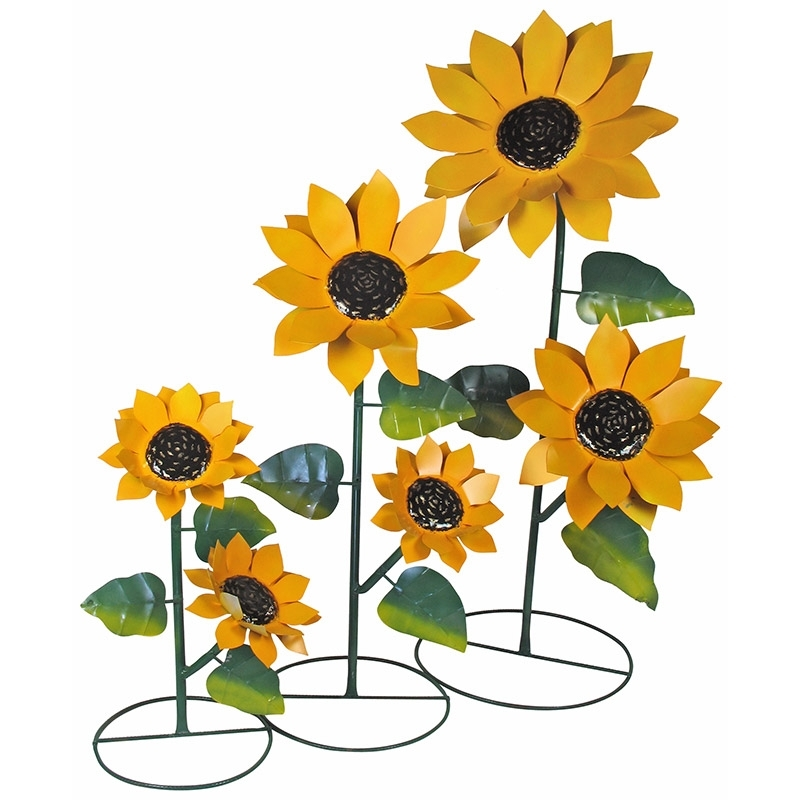 Most Current Set Of 3 Metal Sunflower Yard Art Sculptures Intended For Metal Sunflower Yard Art (View 8 of 15)