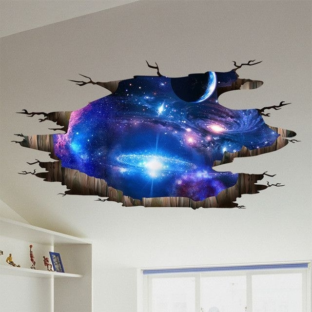 Most Current Shijuehezi Universe Milky Way 3D Wall Sticker Home Decor Living Room Within Space 3D Vinyl Wall Art (View 7 of 15)