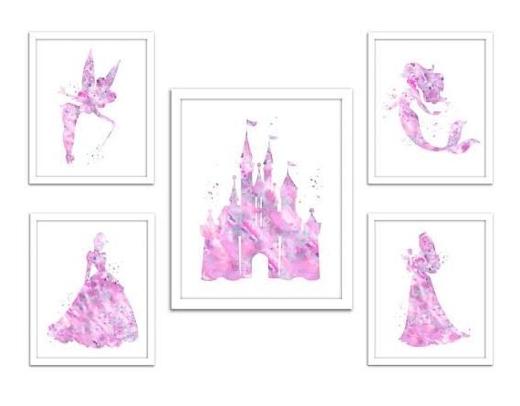 Most Current Soft Pink Gray Princess Wall Art, Disney Princess Print, Light Pink Throughout Disney Princess Wall Art (View 11 of 15)