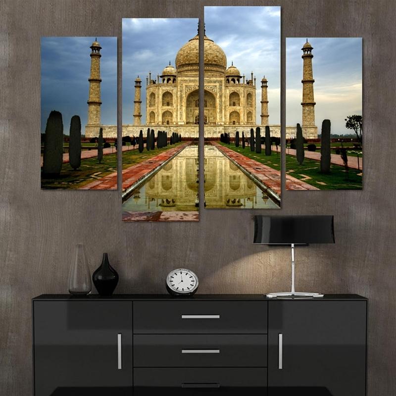 Most Current Taj Mahal Wall Art With Unframed 4 Piece Modern Home Decor Canvas Painting Taj Mahal (View 4 of 15)