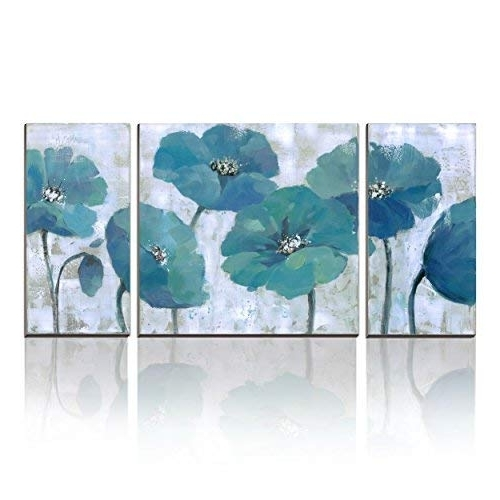 Most Current Teal Flower Canvas Wall Art Within Teal Canvas Art: Amazon (View 6 of 15)