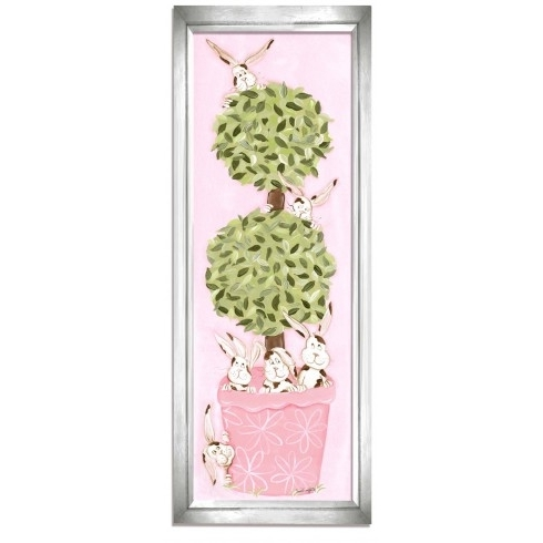 Most Current Topiary Wall Art With Regard To Bunny Topiary Wall Art – Pink Frame (View 8 of 15)