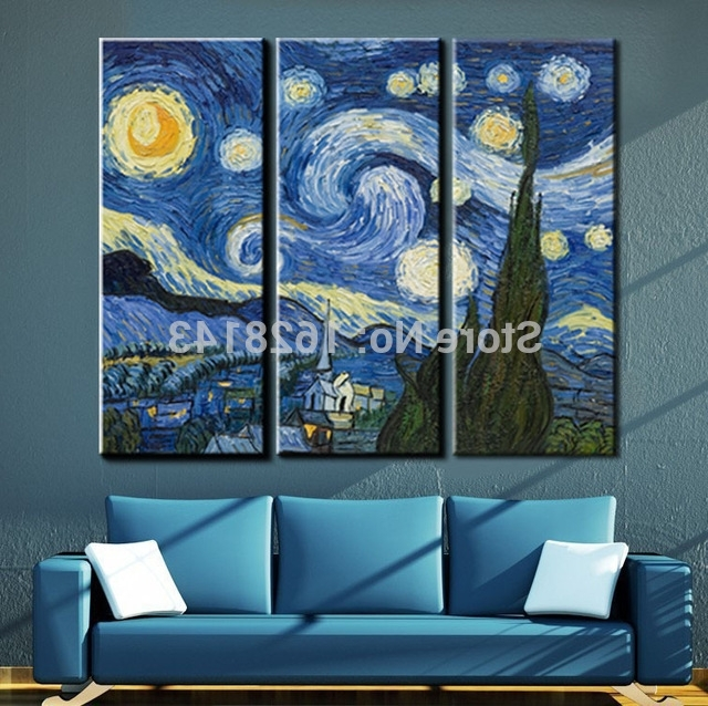 Most Current Vincent Van Gogh Multi Piece Wall Art Pertaining To 3 Pieces Vincent Van Gogh Oil Painting Starry Night Famous Painting (View 8 of 15)