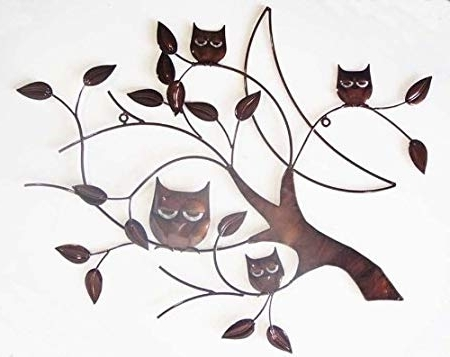 Most Current Wall Art – Metal Wall Art – Bronze 4 Wise Owls Tree Branch: Amazon Within Bronze Tree Wall Art (View 10 of 15)