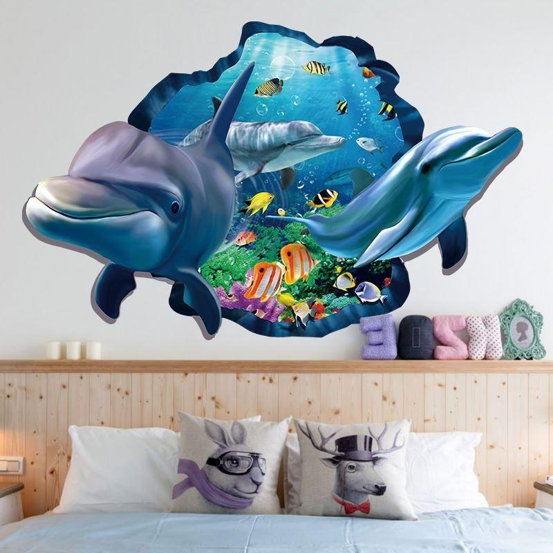 Most Current Xh 9215 Sea Aquarium Dolphin 3D Wall Stickers Removable Wall Poster With 3D Wall Art For Bathroom (View 14 of 15)