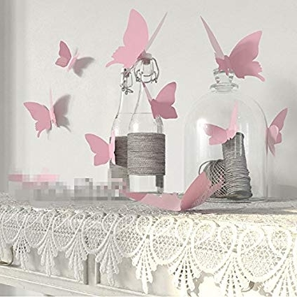 Most Current Yingkai Mariposa In Gossip Girl 12Pcs/pack Pink Pvc 3D Decorative Within Decorative 3D Wall Art Stickers (View 11 of 15)
