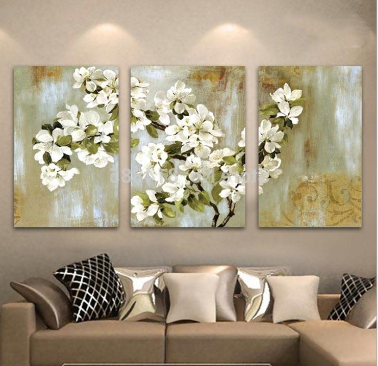 Most Popular 2018 Hand Painted Abstract White Floral Picture Wall Flower Oil Regarding 3 Piece Floral Canvas Wall Art (View 12 of 15)