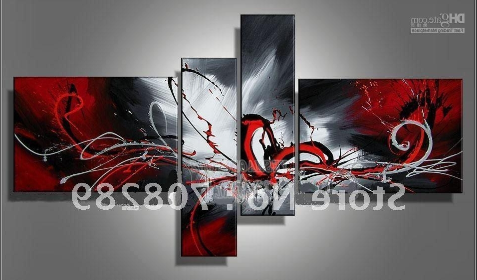 Most Popular 2018 Oil Paintings On Canvas Red Black White Home Decoration Modern For Black And White Wall Art With Red (View 5 of 15)