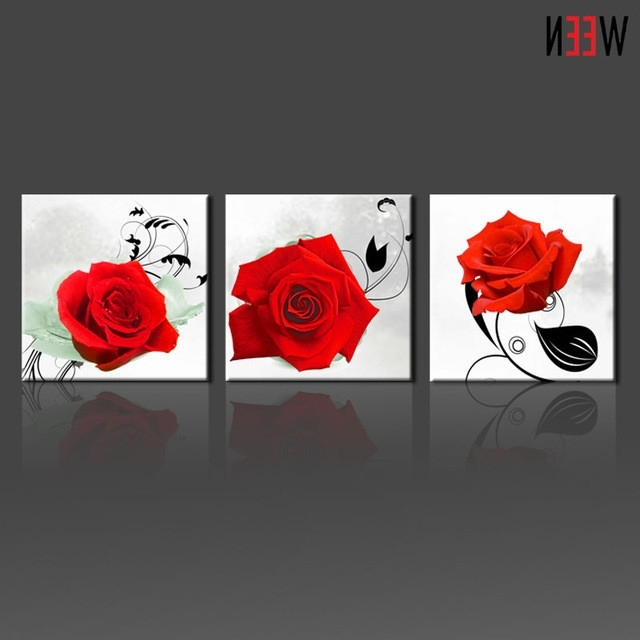 Most Popular 3 Piece Red Rose Wall Art Picture Modern Home Decoration Living Room With Regard To Red Rose Wall Art (View 9 of 15)